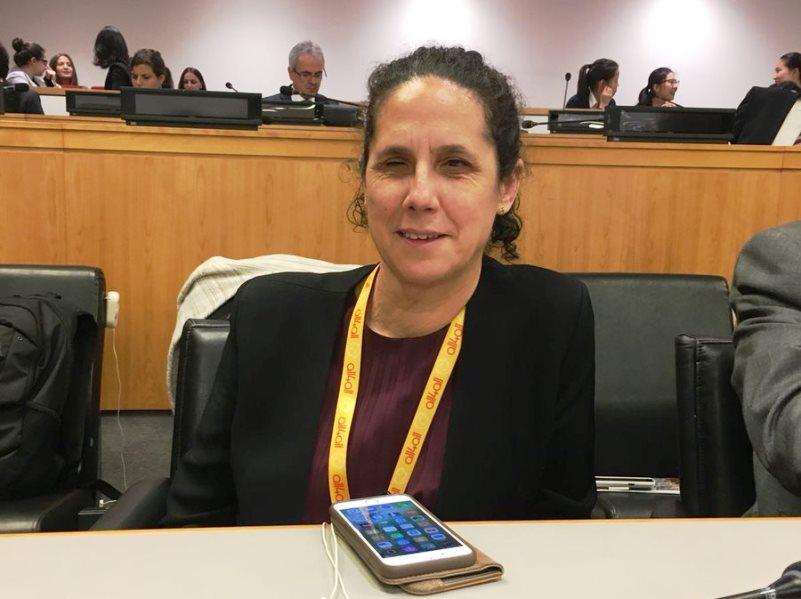 Ana Peláez en la sede de la ONU en Nueva York.