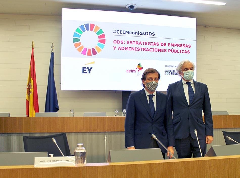 José Luis Martínez-Almeida, alcalde de Madrid, y Miguel Garrido, presidente de CEIM.