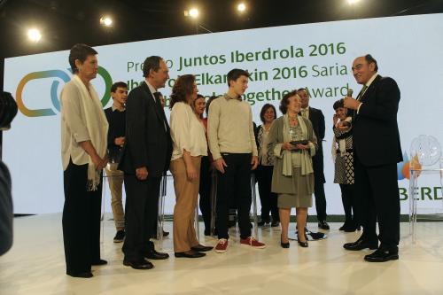 El presidente de Iberdrola, Ignacio Galán, en la entrega de la primera edición del premio en Bilbao, en abril de 2016.