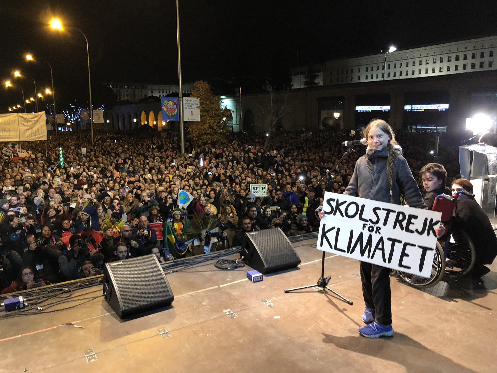 La activista sueca en la marcha de Madrid. Foto: Twitter Greta Thunberg.