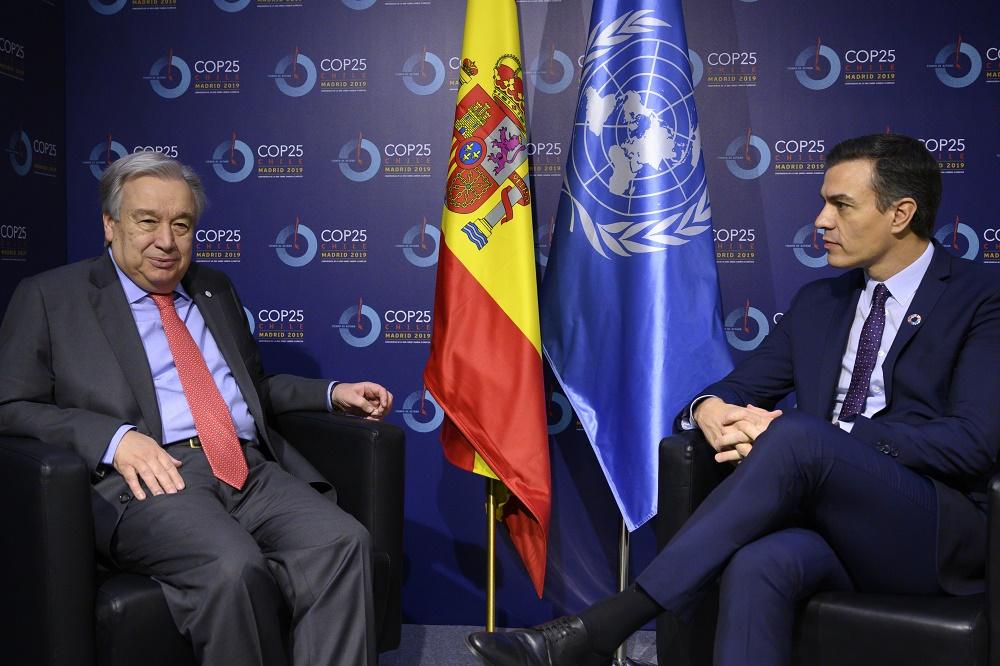 António Guterres y Pedro Sánchez este lunes en la COP25 de Madrid.