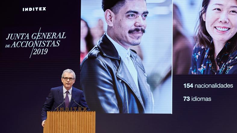 El presidente de Inditex, Pablo Isla, durante la Junta de Accionistas.