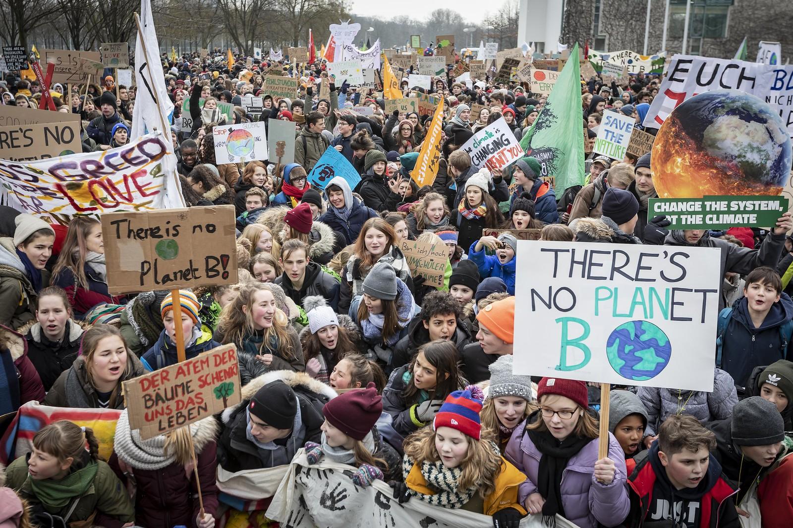 Manifestación de jóvenes contra el cambio climático.