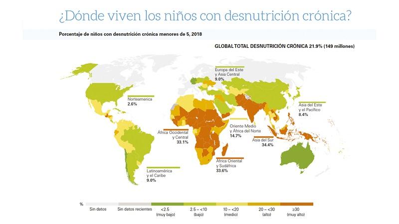 Mapa de la desnutrición infantil. Fuente: Unicef