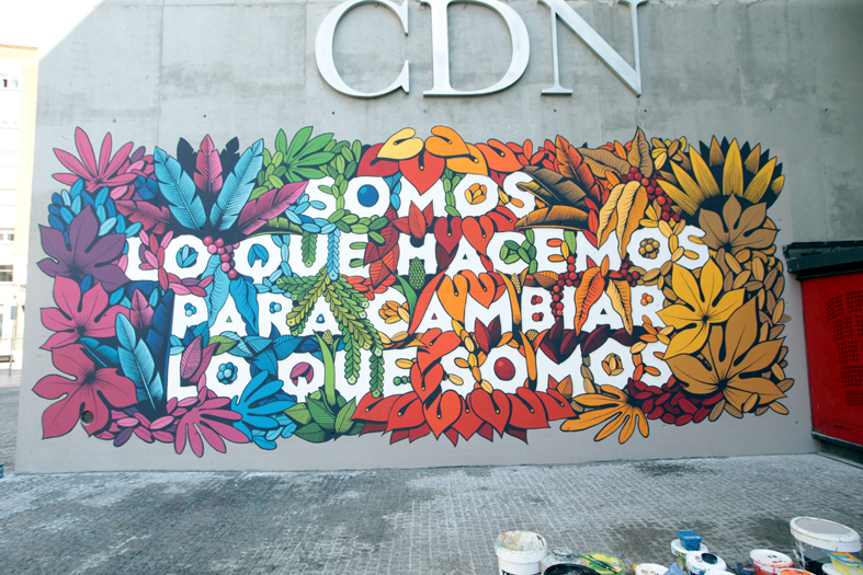 Imagen del mural con la frase de Eduardo Galeano.