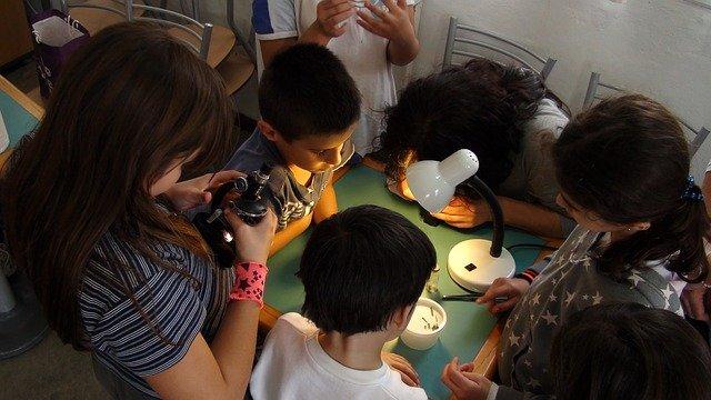 Varios niños y niñas reunidos aprenden ciencia