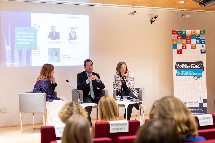 Conversación entre Antonio Garamendi, presidente de la CEOE, y Cristina Gallach, alta comisionada para la Agenda 2030.