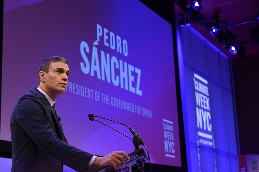 Pedro Sánchez, durante su intervención en la Cumbre del Clima (Foto: Pool Moncloa / Borja Puig de la Bellacasa).