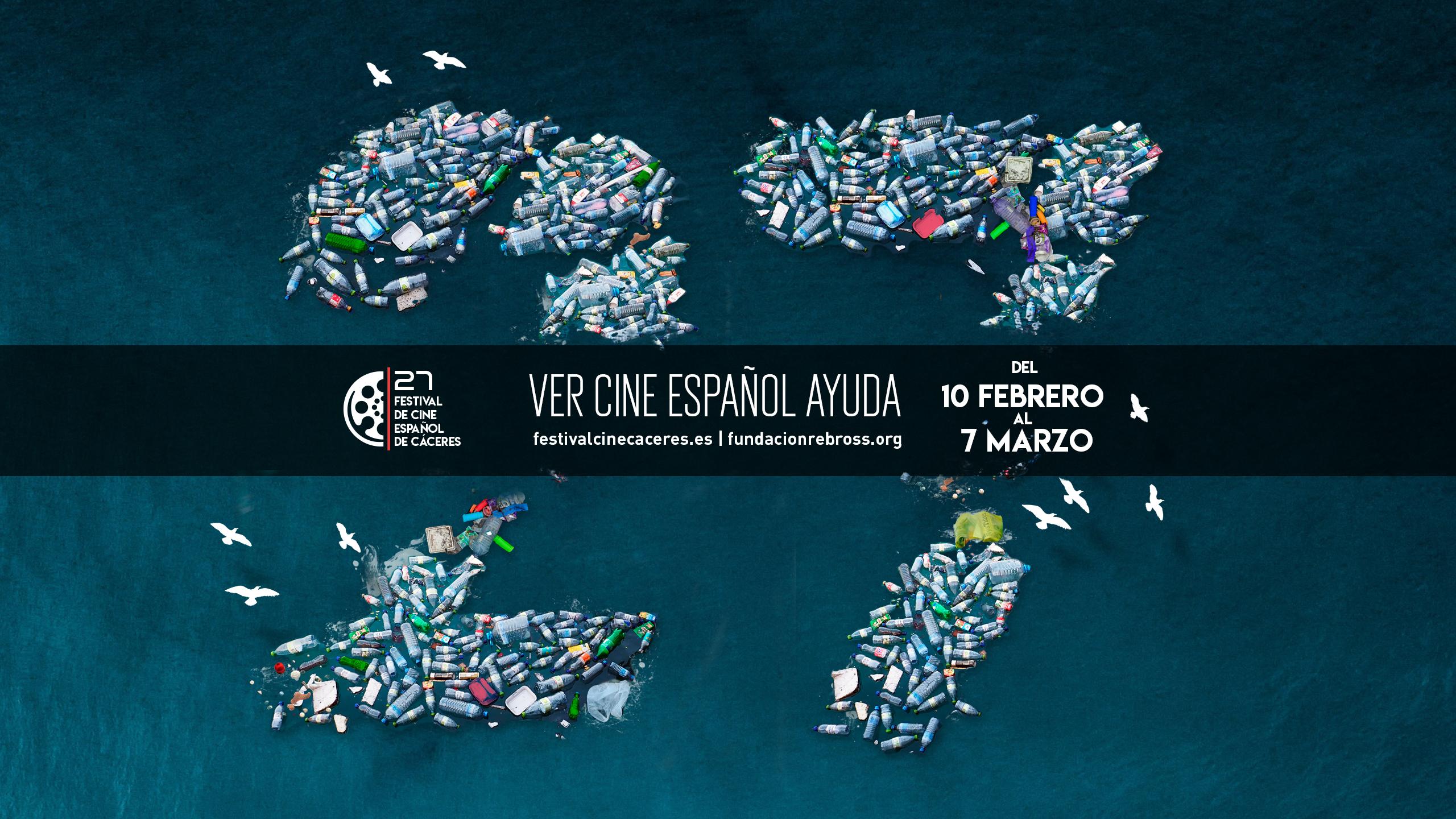 El cartel del festival denuncia la contaminación de plástico en el mar.