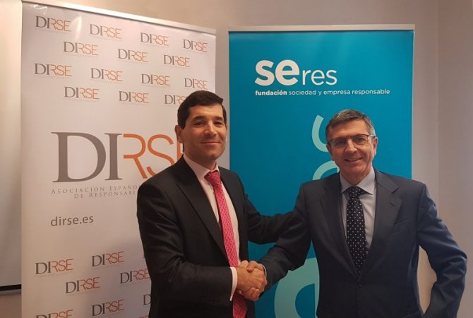 El presidente de Dirse, Francisco Hevia, y el de la Fundación Seres, Francisco Román, en la firma del acuerdo.