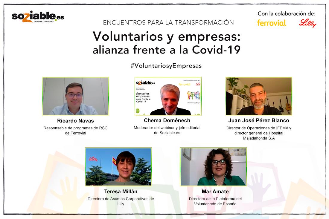 Ponentes en el encuentro 'Voluntarios y empresas: alianza frente a la COVID-19'.