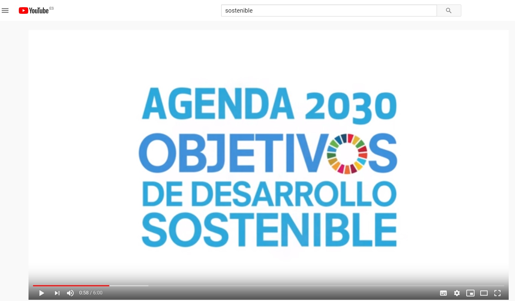Vídeo en Youtube sobre los Objetivos de Desarrolllo Sostenible.