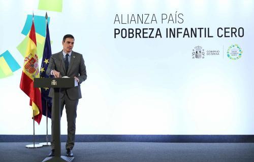 El presidente del Gobierno, Pedro Sánchez, en la presentación de la Alianza País Pobreza Infantil Cero.