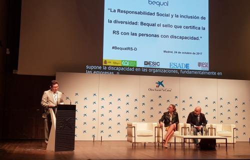 Imagen de la jornada 'La Responsabilidad Social y la inclusión de la diversidad: Bequal, el sello que certifica la RS con las personas con discapacidad'.