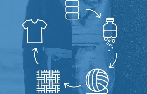 Abrigos fabricados con botellas de plástico reutilizable.