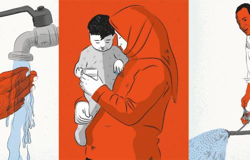 Ilustraciones de la campaña 2019 del Día del Agua. De izquierda a derecha: Agua para todas las personas de edad, para todos los refugiados, para toda la población rural.