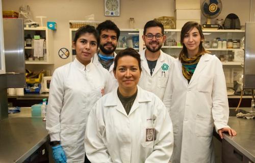 Eva Ramón (en el centro) acompañada por los miembros de su equipo. (Foto: Instituto Politécnico Nacional)