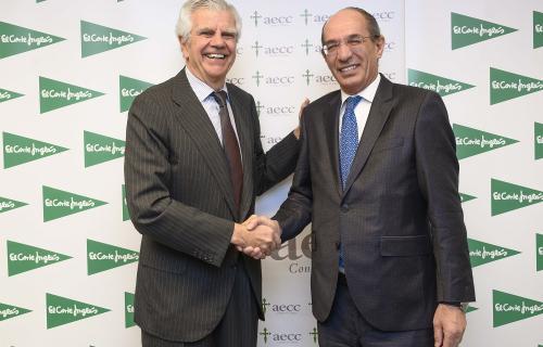 Ignacio Muñoz Pidal, presidente de la AECC, y José Luis González-Besada, director de Comunicación y RRII de El Corte Inglés.
