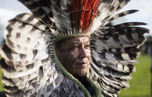 El líder indígena Kreta Kaigang (Foto: Mídia Ninja)
