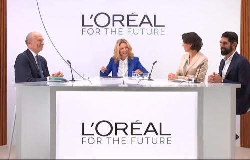 Los ejecutivos de L'Oréal, durante la presentación de 'L'Oréal for the future'.