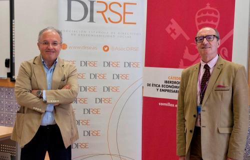 Alberto Andreu y José Luis Fernandez, durante la ratificación del acuerdo de colaboración