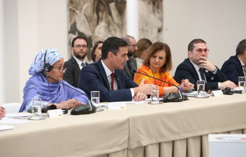 Amina Mohammed, Pedro Sánchez, Cristina Gallach y Federico Buyolo. Foto: Pool Moncloa/JM Cuadrado
