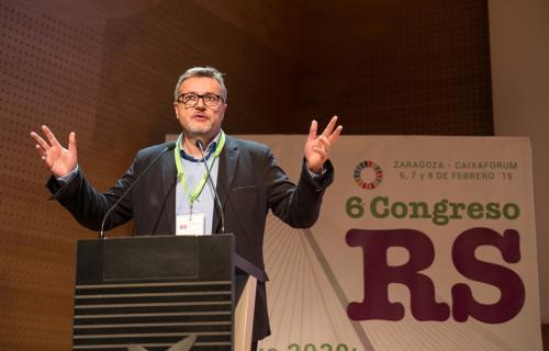Pedro Villanueva, durante su participación en la pasada edición del Congreso de RS en Zaragoza.