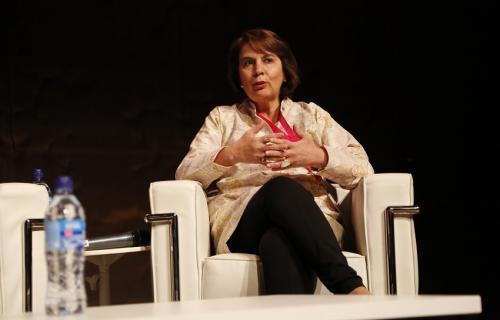 Rosalía Arteaga, durante su intervención en el Foro Demos 2018
