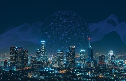 Ciudad con iluminación conectada