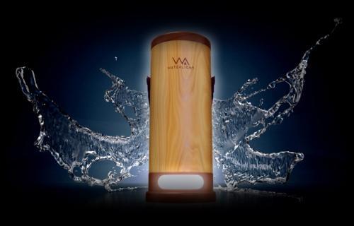 La apariencia del nuevo dispositivo para generar luz con agua salada.