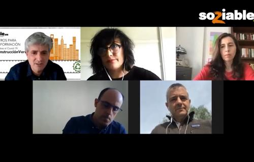 Imagen de los participantes en el webinar de Soziable.es 'La Reconstrucción Verde'.