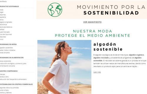 Captura de la web del Movimiento por la Sostenibilidad de El Corte Inglés.