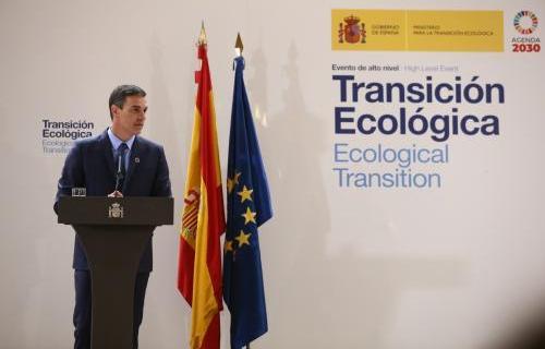 Pedro Sánchez, durante la clausura del evento sobre Transición Ecológica (Foto Pool Moncloa / Fernando Calvo)
