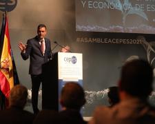 Pedro Sánchez, durante su intervención en la Asamblea General de CEPES.