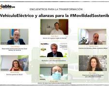 Imágenes de los participantes en el webinar sobre movilidad eléctrica.