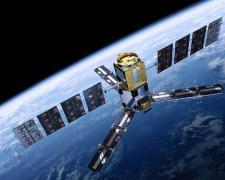 Representación artística del satélite SMOS orbitando la Tierra. (Imagen: ESA)